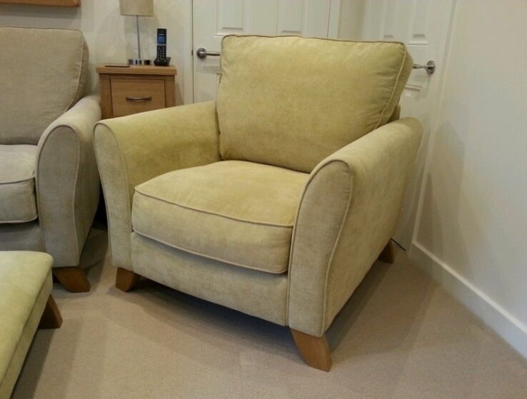 Oak Furniture Land Jasmine Armchair And Matching Footstool Lime Green