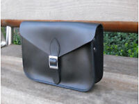 Oxford Satchel - Real Leather - Black - Vintage Shoulder Handbag Handmade in Cambridge UK