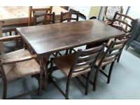 Solid Oak Refectory Dining Table With Six Chairs Including Two Carvers