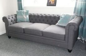 Hampton Slate Grey Fabric Chesterfield Sofa.