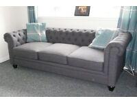 Hampton Slate Grey Fabric Chesterfield Sofa.