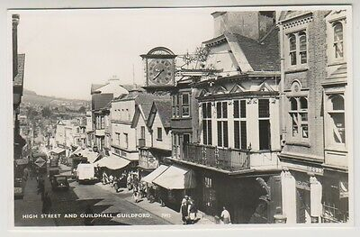 Surrey postcard - High Street and Guildhall, Guildford - RP