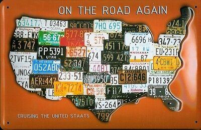 USA Map Signs Autoschilder Blechschild Schild Blech Metall Tin Sign 20 x 30 cm