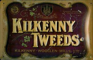 Kilkenny-Tweeds-Letrero-de-metal-signo-de-3d-EN-RELIEVE-Arqueado-Cartel-de-lata