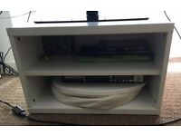 Furniture sale: TV stand, valet stand, laundry basket, boxes and (desk and standing) lamps