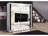 Brand New 2 Door Chicago Sliding Wardrobe Full Mirror, Shelves, Hanging Rails Gloss Panels