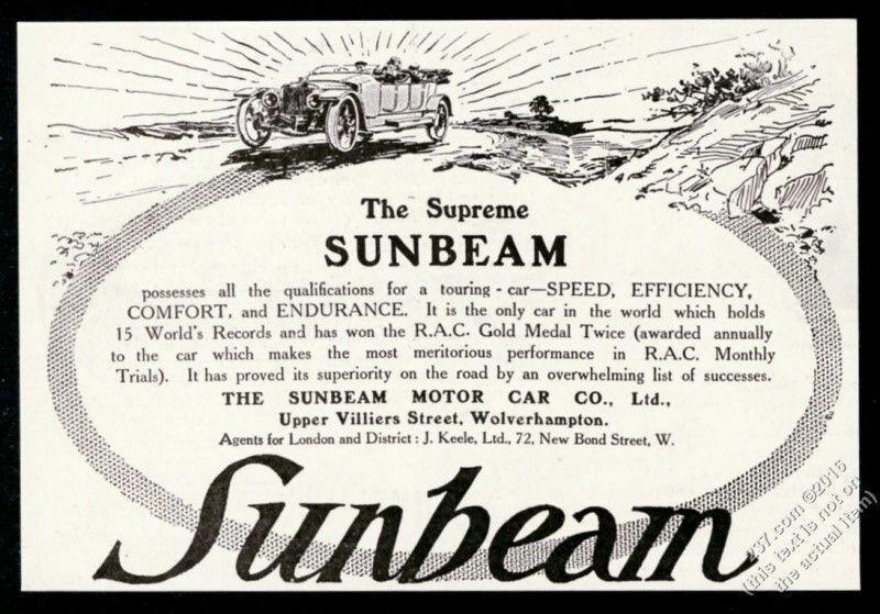 1912 Sunbeam open car illustrated vintage print ad