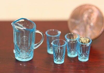 Dollhouse Miniature Chrysnbon Blue Pitcher Kit  with 4 Glasses