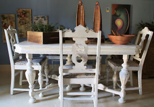 ANTIQUE DINING TABLE & 6 CHAIRS, REFINISHED, SHABBY CHIC