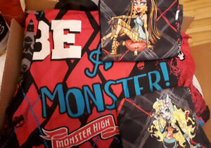 Monster high sheet set and curtains.
