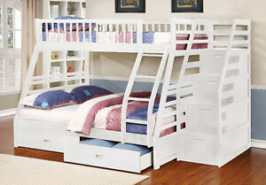 NEW!  Twin / Full Bunk Bed w/ Stairway Chest & Storage Drawers