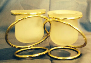 Two Gold Plated Ring PartyLite Tea Light Holder