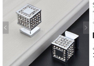 Square knobs with crystals (16)