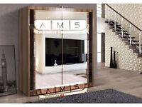 Brand New 2 Door German Sliding Wardrobe Full Mirror, Shelves, Hanging Rails Gloss Panels