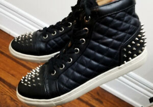 TOP SHOP womens High Top Black Sneakers w/ Spikes. Size 8
