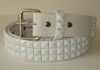 3 ROW PUNK WHITE BLACK STUD STUDDED SNAP ON BELT XS 30 Stud Studded Black Belt