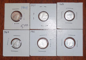 Small coin collection:pennies, silver dimes, and world coins