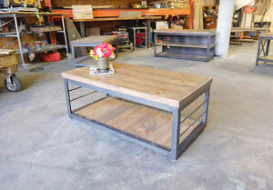 2 inch Slab and Steel Coffee table w/ Pull out Crate Shelf London Ontario image 8
