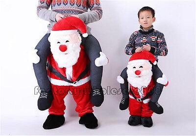 Santa Claus Costume Mascot  Carry Ride On Piggy Back Me Adult Kids Dress Xmas US - Santa Mascot Costume