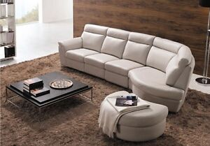 Genuine Leather modern sectionals/recliners and ottoman