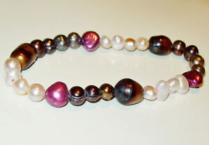 Multicoloured Freshwater Pearl Bracelets or Anklets