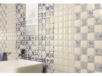 BEAUTIFUL BLUE & WHITE VINTAGE WALL TILES -DECOR MORINO SERIES - 26.5 x 26.5cm