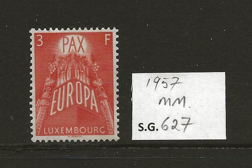 1957 Luxembourg Europa 3f Red SG627 mounted mint