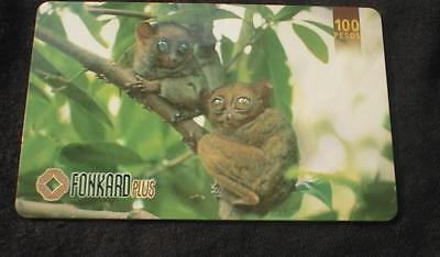 Philippines Phonecard Pldt 100 Peso Philippine Tarsiers  No Airtime Value   Used