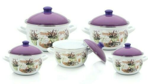 10 Pieces  Enamel Cookware Set,White, Made In Turkey
