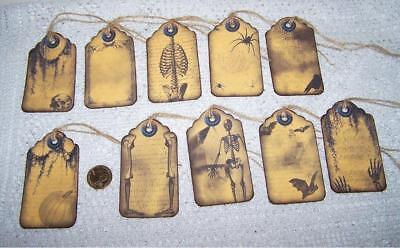 Halloween~Skulls~Bats~Bones~Pumpkin~Raven~Linen Cardstock~Gift~Hang~Tags (Bones Halloween)
