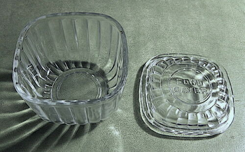 "Vintage 1930s square glass refrigerator icebox FOOD SAVER with lid. 3.5"" x 3.5"""
