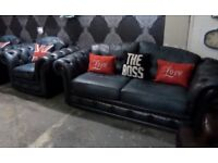 Stunning Chesterfield 3 Seater Sofa & Chair in Blue Leather 3+1 UK Delivery Available