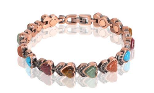 Copper Magnetic Link Turquoise Stone Bracelet - Arthritis Pain Relieve Bracelet
