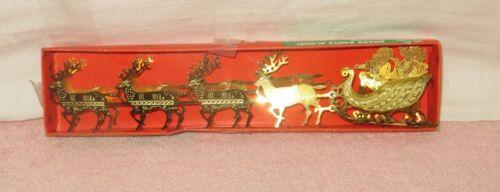 Vintage Around the World Brass Santa Sleigh - Santa Claus & Sleigh & Reindeer