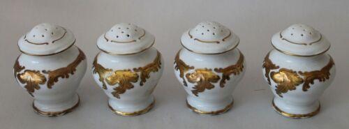 Four! ANTIQUE French Porcelain SALT & PEPPER SHAKERS Gold & White
