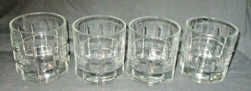 """4 Tartan (Manchester) Clear 8 oz. Old Fashioned Whiskey Tumblers 3 1/2"""" Barware"""