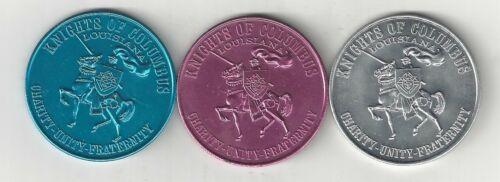 3 1969 LOUISIANA KC KNIGHTS OF COLUMBUS 87th ANNIVERSARY COINS MEDALS LOT SET