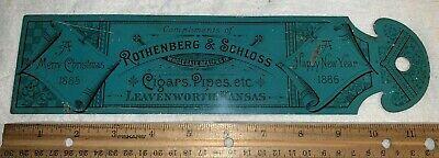 ANTIQUE 1885 LEAVENWORTH KS CIGAR PIPE TIN LITHO LEDGER MARKER SIGN TOBACCO 1886