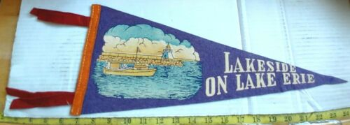 "VINTAGE LAKESIDE ON LAKE ERIE OHIO FELT PENNANT 17.5"" {CM245}"
