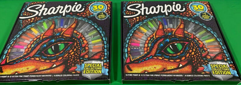 2 Sharpie Special Collectors Edition Permanent Markers and Dragon Coloring Pages