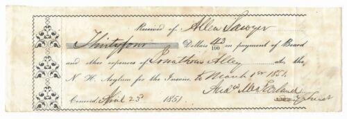 Antique 1851 NEW HAMPSHIRE ASYLUM FOR THE INSANE Psychology HANDWRITTEN RECEIPT