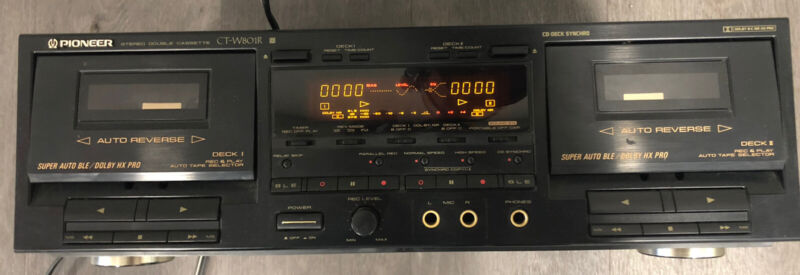 Pioneer Stereo Double Cassette Tape Deck CT-W801R Song Search Dual Mic Black