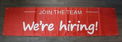 New Join The Team Were Hiring Banner Flag Sign Huge 2 Feet X 8 Big Open Store