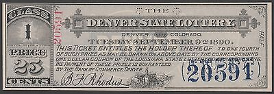 Denver State Lottery Ticket 1890    Rare    Br2132