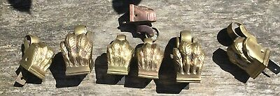 7 Vintage Heavy Brass Moulded Lions Foot Furniture Castors