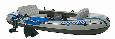 Intex Excursion 4 + Pump + Oars 4 person Dinghy Tender Fishing #68324