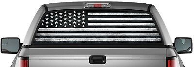 USA Black American Flag Perforated Vinyl Decal Truck Rear Window StickerTattered