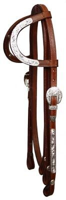 (WESTERN SADDLE HORSE  2 EAR SHOW BRIDLE HEADSTALL W/7' SPLIT REINS MEDIUM OIL)