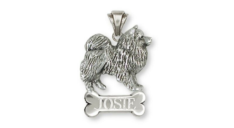 Keeshond Personalized Pendant Jewelry Sterling Silver Keeshond Dog Personalized