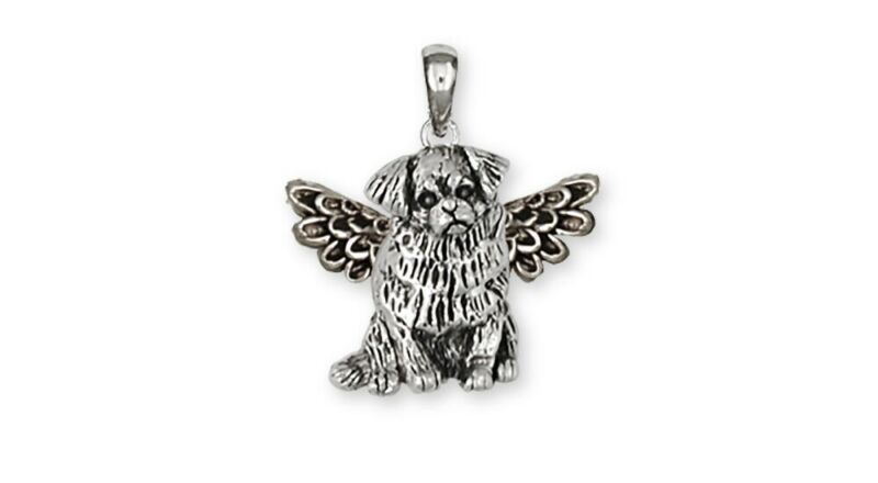Tibetan Spaniel Angel Pendant Handmade Sterling Silver Dog Jewelry TS3A-P